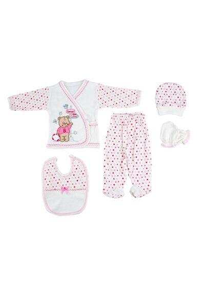 Yeni Doğan Bebek Pembe Ayı Desenli Hastane Çıkışı 5'li Set