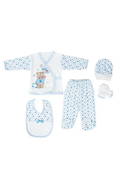 Yeni Doğan Bebek Mavi Ayı Desenli Hastane Çıkışı 5'li Set