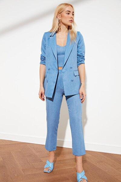 Mavi Düğme Detaylı Blazer Ceket TWOSS21CE0035