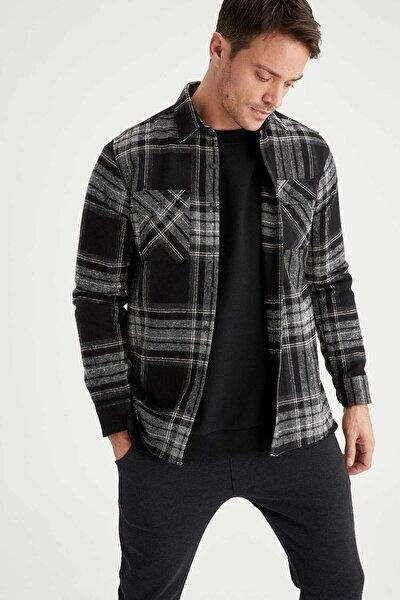 Regular Fit Uzun Kollu Kareli Gömlek Ceket