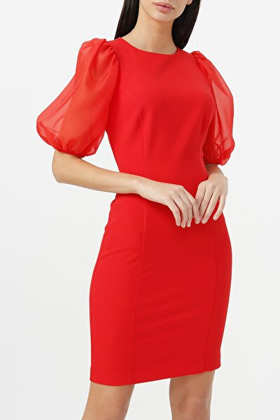 Kadın Balon Kol Yuvarlak Yaka Elbise %85 Polyester %15 Elastane