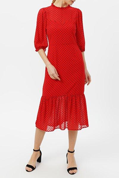 Kadın Volan Detaylı Puantiyeli Elbise %100 Polyester
