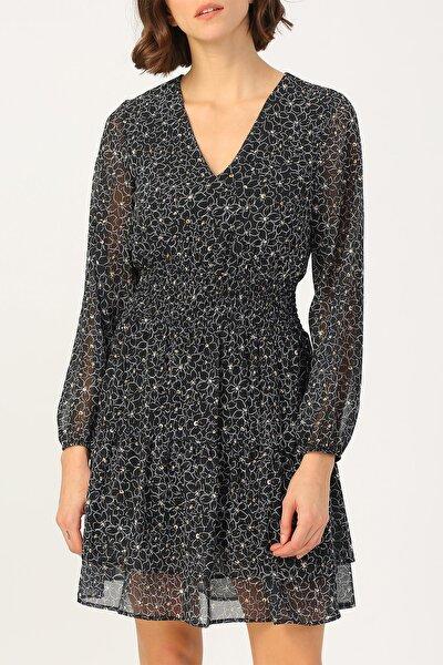 Kadın Beli Gipeli Çiçek Desenli V Yakalı Elbise %100 Polyester