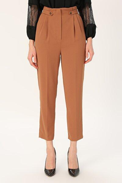Kadın Yüksek Bel Pileli Pantolon %100 Polyester
