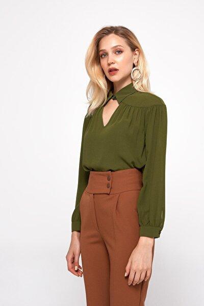 Kadın Kalın Kemerli Yüksek Belli Havuç Pantolon %95 Polyester %5 Elastane