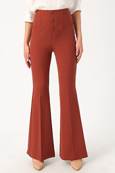 Kadın Yüksek Belli Ispanyol Paça Pantolon %85 Polyester %15 Elastane