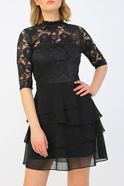 Kadın Volan Detaylı Dantel Elbise %100 Polyester