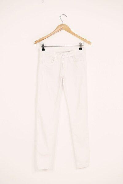 Kız Çocuk Beyaz Cepli Gabardin Pantolon