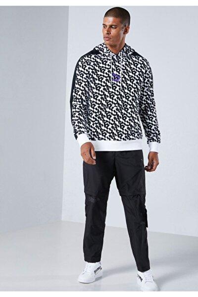 Erkek Beyaz Classics Aop Logo Hoodie  Sweatshirt