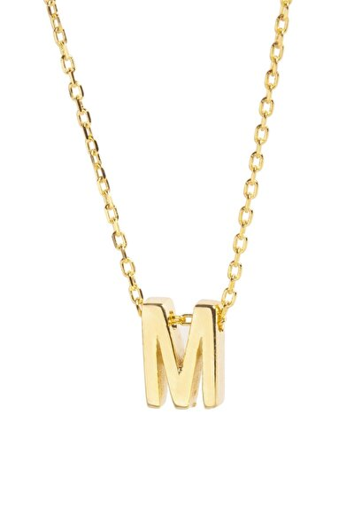 Kadın Sarı Zincir M Harf Gümüş Kolye