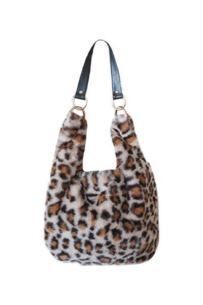 Sisaart Poşe Bag Kürk Peluş Kadın Çanta(deri Kulp Askı Aksesuarlı)