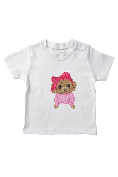 Kız Bebek Beyaz Baby Sarılmaya Ihtiyacı Olan Sevimli Köpek Tişört