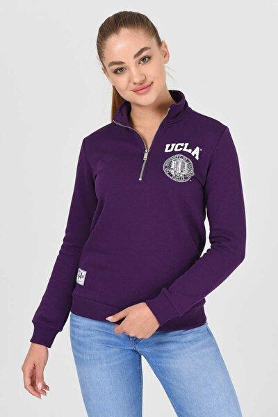Clarıta Mor Yarım Fermuarlı Baskılı Kadın Sweatshirt