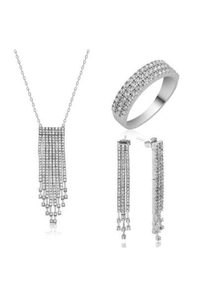 Kadın Beyaz Taşlı Su Yolu Kadın 925 Ayar Gümüş Set