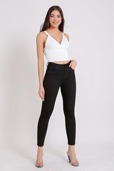 Kadın Siyah Yüksek Bel Jeans Slim Fit Denim Kot 2019