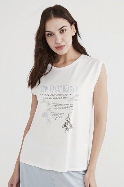 Kadın  Beyaz Dry Herbs Tişört