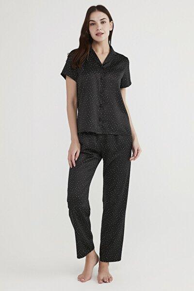 Kadın Siyah Minimal Dark Saten Pijama Takımı