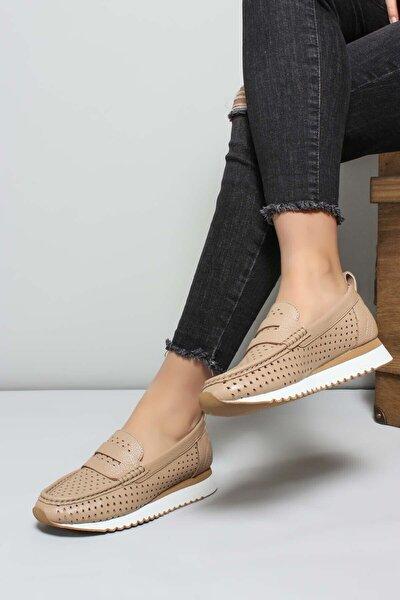 Hakiki Deri Bej Kadın Sneaker Ayakkabı 009za992