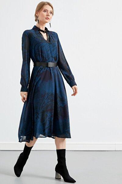 Kadın İndigo Desenli Elbise