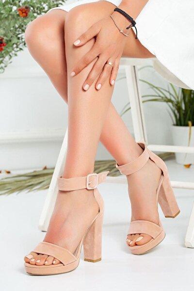 Kadın Margaret Süet Topuklu Ayakkabı Pudra