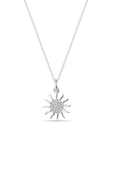 Kadın 925 Ayar Gümüş Zirkon Beyaz Taşlı Güneş Kolye