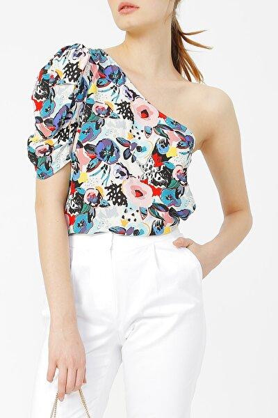 Kadın Desenli Tek Omuz Bluz %58 Vıscon %42 Polyester
