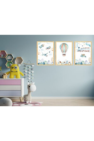 3 Parçalı Çocuk Odası Tablo Seti