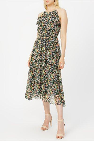 Volan Detaylı Ince Askılı Desenli Elbise %100 Polyester