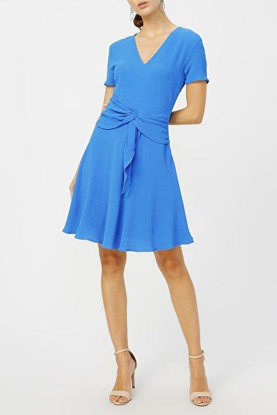 Kadın Belinden Bağlamalı V Yaka Elbise %97 Cotton %3 Elastan