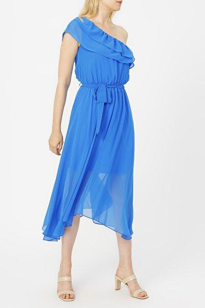 Kadın Yakası Volanlı Tek Omuz Şifon Elbise %100 Polyester