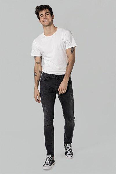 Erkek Füme Slim Tapared Fit Yırtık Rem Kot Pantolon