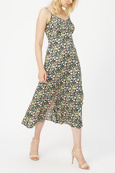 Askılı V Yaka Desenli Elbise %100 Vıscon