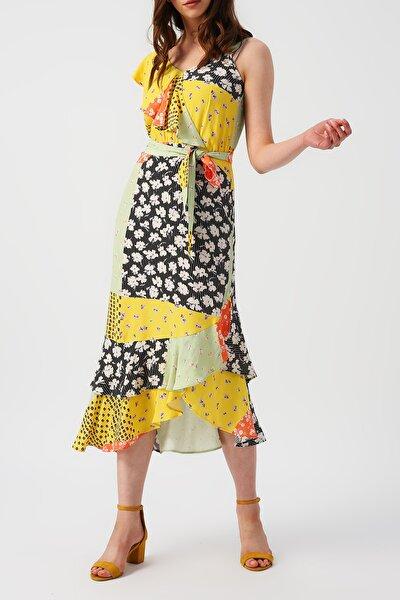 Kadın Bir Omzu Fırfırlı Bir Omzu Askılı Eteği Asimetrik Desenli Elbise %100 Vıscon