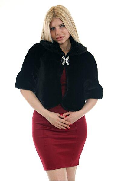 Kadın Siyah Suni Kürk Faux Fur Bolero ve Broş