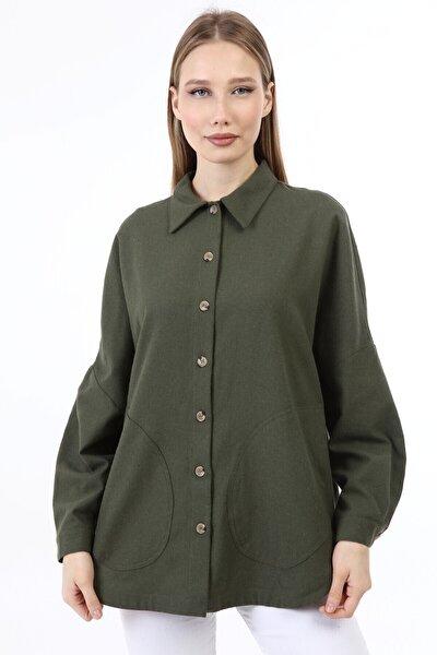Kadın Haki Uzun Yarasa Kol 2 Yan Cepli Kol Düğmeli Gömlek