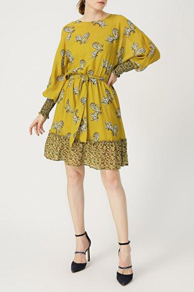 Kadın Kolu Gipeli Belden Bağlamalı Hardal Elbise %57 Vıscon %43 Polyester