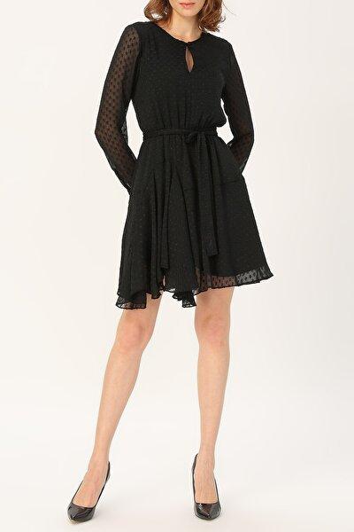 Kadın Asimetrik Kesim Belden Bağlamalı Elbise %100 Polyester