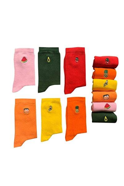 Kadın 6'lı Meyveler Nakışlı Renkli Çorap Kutusu