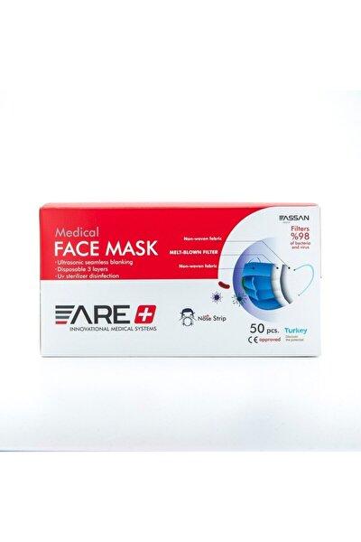1 Kutu Mavi Renk Cerrahi Yüz Maskesi Meltblown Filtreli