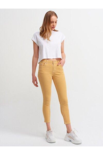 Kadın Sarı Beyaz Çizgili Havlu Yıkama Pantolon 7537