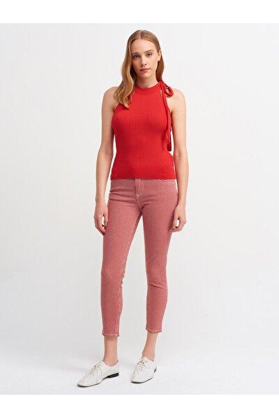 Kadın Kırmızı Beyaz Çizgili Havlu Yıkama Pantolon 7537