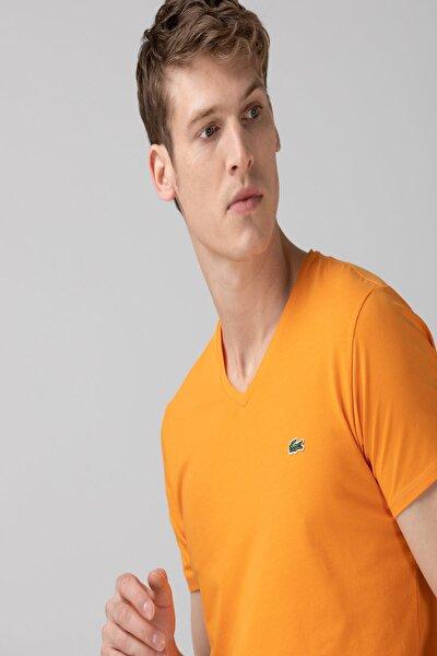 Erkek Slim Fit V Yaka Turuncu T-shirt
