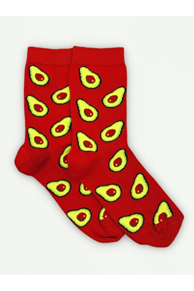Kırmızı Avokado Desenli Çorap (unisex)