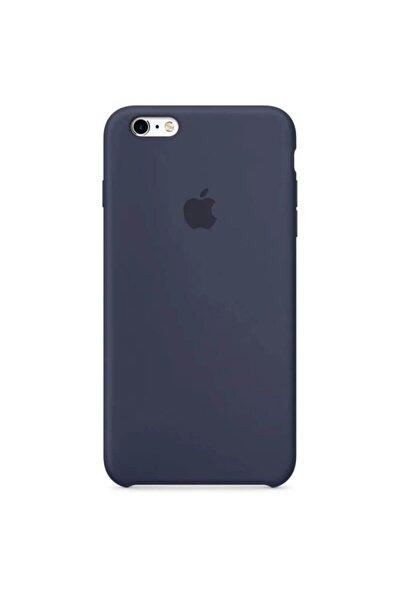 Iphone 6 Plus 6s Plus Uyumlu Logolu Altı Açık İçi Süet Midnight Blue Lacivert Lansman Silikon Kılıf
