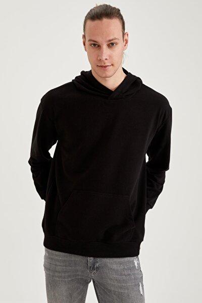 Oversize Fit Kapüşonlu Basic Sweatshirt
