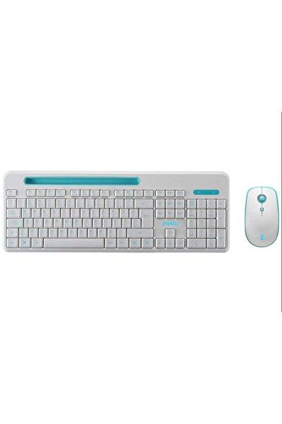 ELITE KM-6388 Kablosuz Q Multimedia Klavye + Mouse Set Beyaz/Mavi