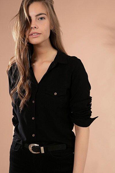 Kadın Cep Detaylı Basic Uzun Kollu Gömlek 3428