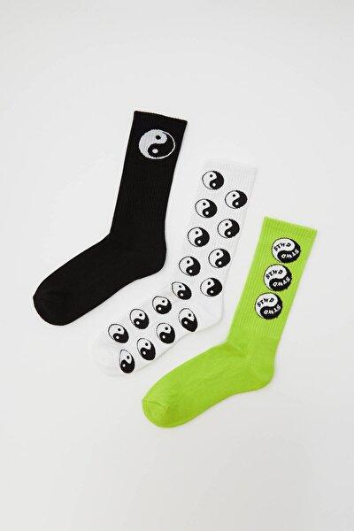 Erkek Renkli Yin Yang Çorap Paketi 04890548