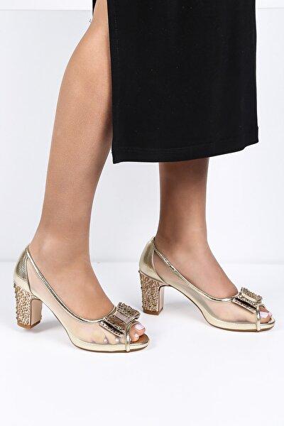 Kadın Altın Parlak Topuklu Ayakkabı