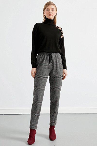 Kadın Metalik Beli Lastik Detaylı Ön Bağcıklı Duble Paça Örme Pantolon